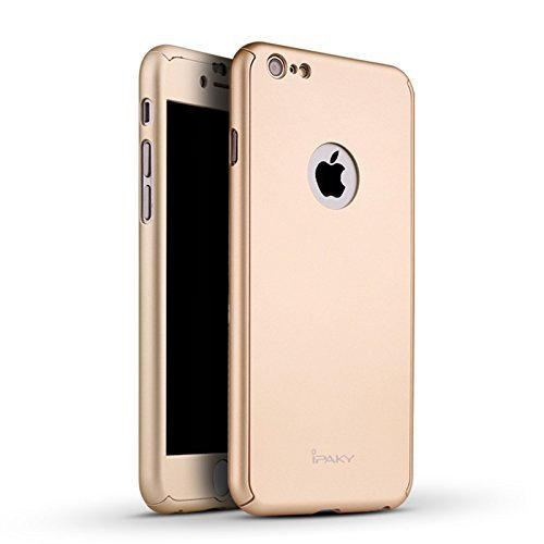 iPhone 6 PLUS Case 5.5 Inch, JMV IPAKY Golden Color All-round All-round Protective Slim Fit Case Cover with Tempered Glass Screen Protector Skin Slim Fit Case Cover for Apple iPhone 6/6S PLUS 5.5 Inch (Golden) with Apple logo cut