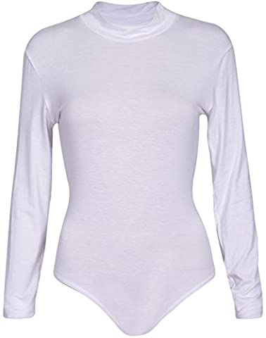 Womens Polo High Turtle Neck Ladies Long Sleeve Stretch Popper