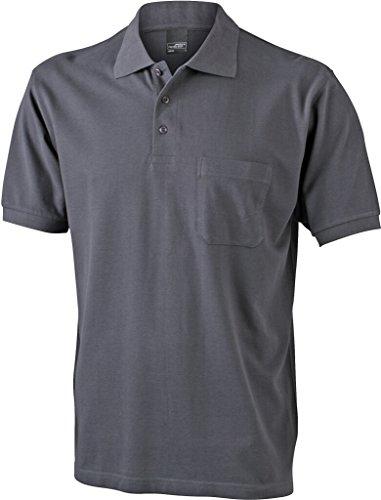 JAMES & NICHOLSON Klassisches Poloshirt mit Brusttasche Graphite