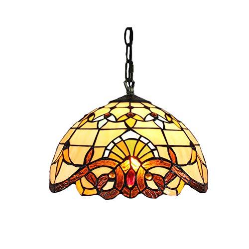 GXCX 12-Zoll-Tiffany-Stil Pendelleuchte Glasmalerei Deckenleuchte Barock Kronleuchter für Schlafzimmer Wohnzimmer E27 Schnittstelle - Barock Deckenleuchte