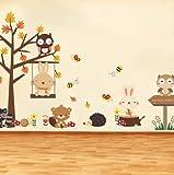 SKANGWald Eule Schmetterling Schaukel Kaninchen Eichhörnchen Wandaufkleber Tier Baum Für Kinderzimmer Kinder Baby Kinderzimmer Wohnkultur