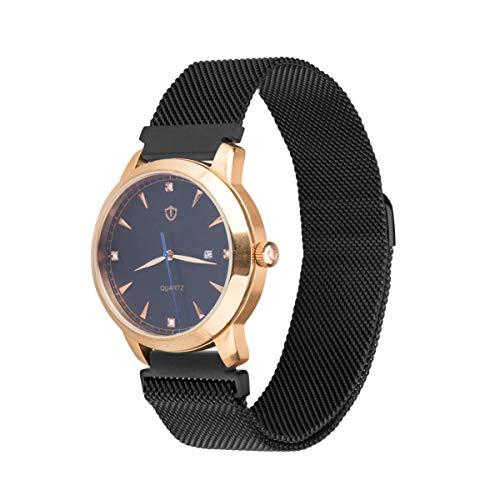 VAPIAO Milanese 20 mm Uhrenarmband komptaibel mit Uhren, Smartwatch Milanais Edelstahl Armband mit Magnet Verschluss in Schwarz