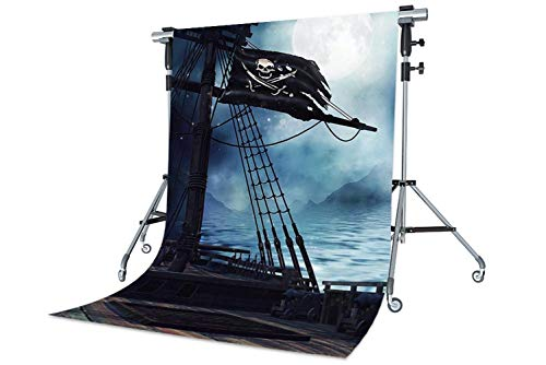 WaW 5x7ft Fotografie Hintergründen Piratenschiff Holz Foto Stoff Kulisse Hintergrund Piratenparty Kinder Fotoshooting ()