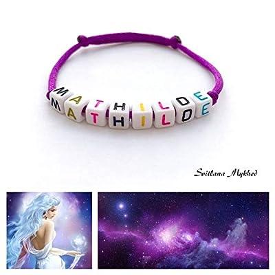 Bracelet personnalisé avec prénom MATHILDE (réversible) pour homme, femme, enfant, bébé, nouveau-né.