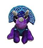Peluche de Dinosaurio Triceratops de Color Lila y Azul 11'/28cm Calidad Super Soft
