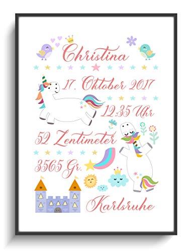 Personalisierte Geschenke Geburt Taufe DIN A4 Geburtsbild Einhorn 1 ohne Rahmen Design Blume Wolken Sterne Krone Regenbogen Tiere Modern Lustig Kind - Regenbogen-farbigen Sternen