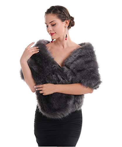 Saferin donna pelliccia artificiale collare sciarpa per inverno abbigliamento per festa di matrimonio (scialle grigio)