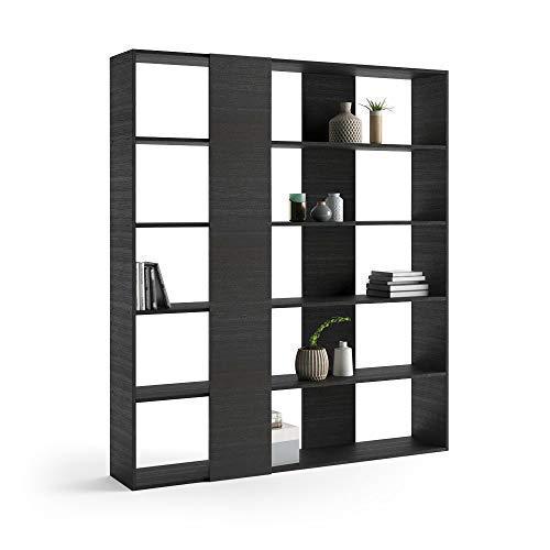 Mobili Fiver, Libreria Rachele, Frassino Nero, 178 x 36 x 204 cm, Nobilitato, Made in Italy, Disponibile in Vari Colori