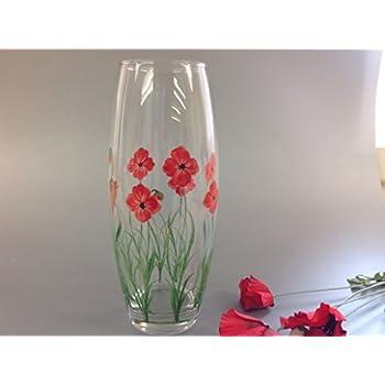 Hand Painted Large Barrel Vase Red Poppy Design