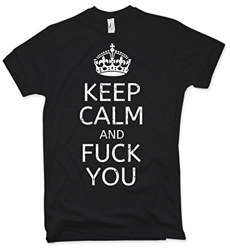 Keep Calm and Fuck You T-Shirt, Distressed, Vintage, Gr. S – XXL (Vintage-t-shirt Distressed)