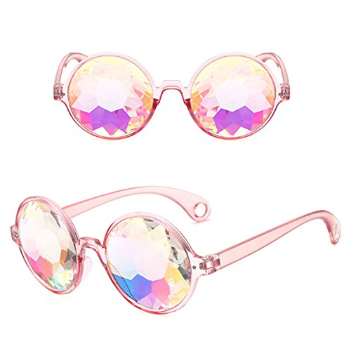 (SELUXU Kaleidoskop Rainbow Steampunk Goggles Kristall Linsen Schweißen Auge schützen Vintage Gläser)