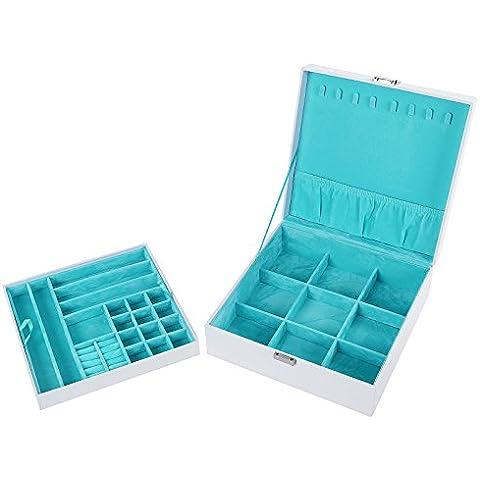 Songmics Caja joyero Organizador para bisuterías 26 x 26 x 10 cm JDS305W