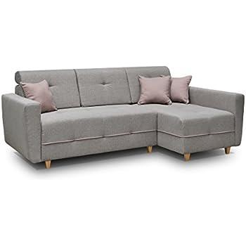Design ecksofa chaise lounge mit schlaffunktion grau for Ecksofa amazon