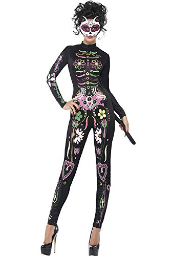 Skelett Knochengerüst Halloween Kostüm Catsuit Jumpsuit Bodysuit Größe 38-40 (Leben Größe Skelett Halloween)
