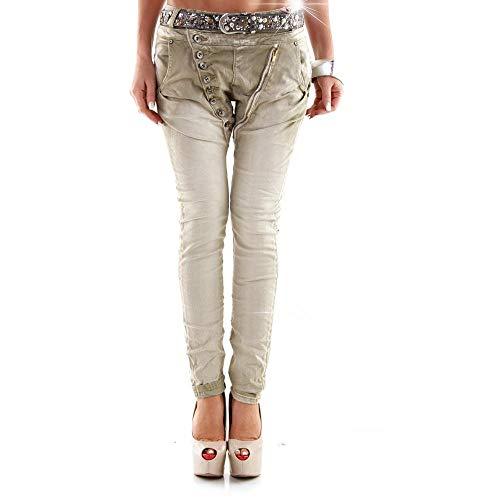Designer Damen Jeans Secret Buttons Zipper Jeans Knöpfe Skinny Baggy Push Up khaki XL -