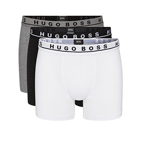 HUGO BOSS 3er Pack Cyclist BOXER SHORTS XL weiss grau schwarz etwas länger geschnitten TRUNKS PANTS (Männer-unterwäsche Polo)