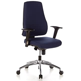 hjh OFFICE 608010 silla de oficina PRO-TEC 200 tejido azul oscuro, con apoyabrazos, aluminio pulido, alta calidad, inclinable, silla giratoria