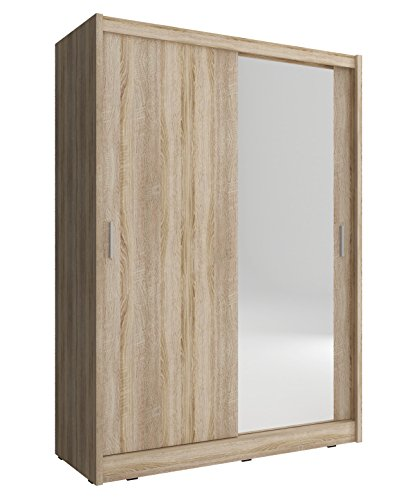 CHECO HOME AND GARDEN 2-DAY PREMIUM SHIPPING AVAILABLE 130 cm WIDE SLIDING 2 DOORS WARDROBE MAYA - SONOMA