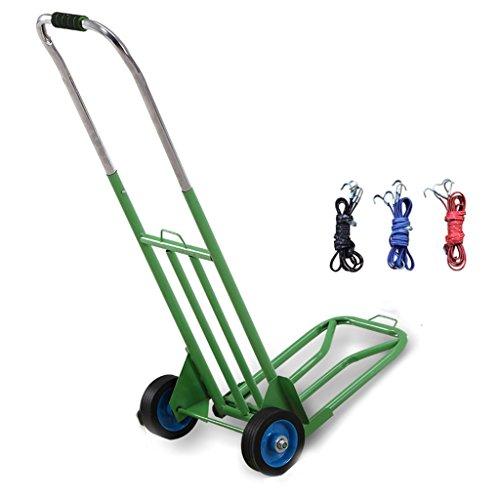 Ali Lamps@ Gummi-Eisen-Rad-Handwagen Verdickung Trolley Einkaufswagen Kaufen Sie ein Auto Portable Small Cart Send Tied Rope (Farbe : Green)