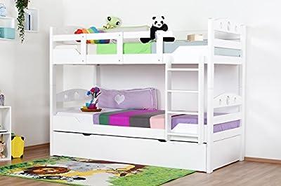 """'Stock cama con cama Buzón """"Easy Sleep K11/H Incluye Camilla Espacio y 2abdeckblenden, de cabeza y pies con agujeros, haya Completo Madera Maciza Color Blanco-Dimensiones: 90x 200cm, divisible"""