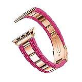 7Lucky Uhrenarmband Edelstahl mit Adapter, Ersatzband Smart Armbanduhr Gurt Handgelenk Armband Kompatibel für Apple Watch 4 44mm (Hot Pink)