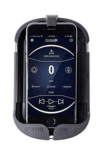 SMINNO® CESAcruise S Universäller Smartphone Halter & Freisprecheinrichtung, Fahrrad, E-Bike, Roller, Cockpit mit APP Schwarz