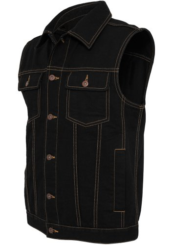 URBAN CLASSICS Herren Denim Vest TB514 black raw M Urban Denim Jacke