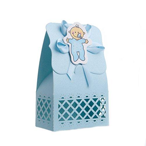 Guoyy 12Pcs Ribbon Candy Boxen für Baby Neugeborene Shower Birthday Party Taschen Gunst Geschenk (2, Blau)