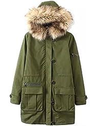 ZQQ Damas invierno moda estilo europeo caliente de piel con capucha manga larga con capucha slim suelta cuello lana abrigo , figure , s