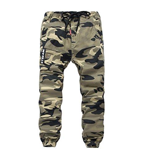 YoungSoul Hosen für Jungen - Jogginghose mit Bündchen und Military-Muster - Cargohose mit Kordel-Taille Gelb(Loose Fit) 140-146