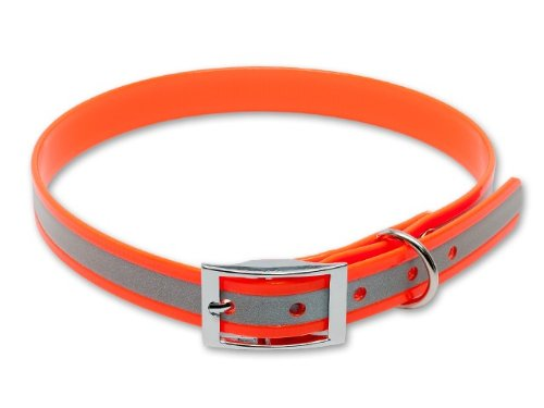 Mystique® Biothane Halsband Deluxe Hundehalsband 30-38cm / 19mm reflex orange