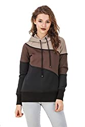 Texco Beige ,Brown & Black color block lace embelished winter hooded sweatshirt