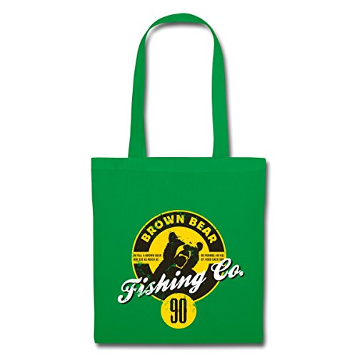Spreadshirt Animal Planet Braunbär Porträt Fishing Stoffbeutel Kelly Green