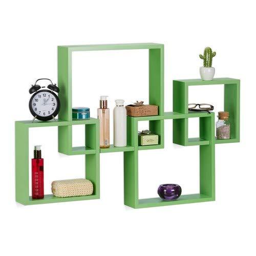 Relaxdays 10021807_53 set 4 mensole da parete cube, legno mdf, grandi, hxlxp: 92x62,5x10 cm, a forma di cubo, verde