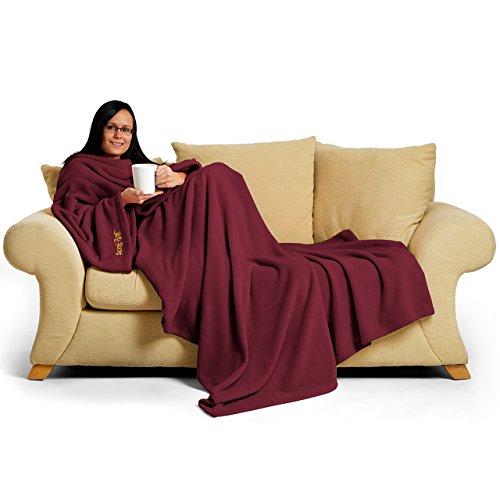 Cómodo alfombra de un adulto manta forro polar perfecto para las fiestas con mangas, de seda de mora rojo, 60 x 213,36 cm, 214 x 152 x 1 cm