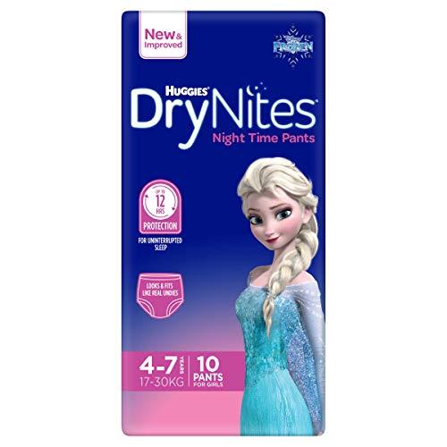Culottes absorbantes Huggies DryNites Fille 4-7 ans, lot de 10