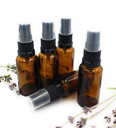 Flacon verre ambre 20ml avec vaporisateur / atomiseur noir X5 - Utilisez avec huiles essentielles, mélanges aromathérapie, eaux florales, remède homéopathique - Bouteilles taille de voyage parfaite avec vaporisateur / atomiseur