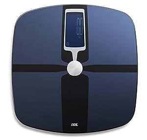 ADE Körperanalysewaage BA 1600 FITvigo. Digitale Personenwaage mit mehrfach ausgezeichneter App zur präzisen Analyse von Gewicht, Körperfett, Körperwasser, Muskelmasse und BMI. Bluetooth. Blau