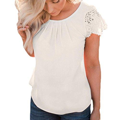 ESAILQ Damen weißes bügelfreies braun grau lila kariert mintgrün weiß schöne freizeithemd seidenhemd günstige modern pink Gestreiftes Kurzarmhemd (L,Weiß)