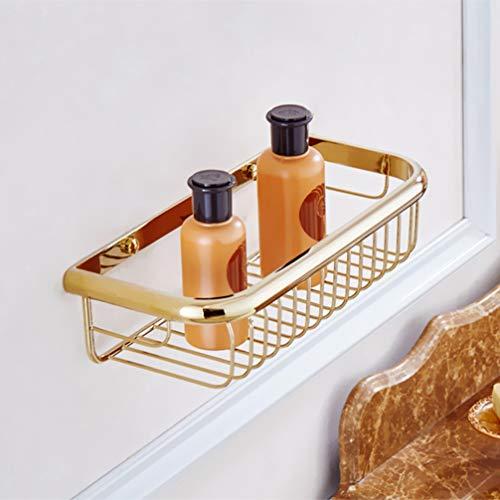 LUDSUY Gold Bad Regal Schwarz Antike Bronze Badezimmer Korb Halter Chrom Wand Montiert Quadratischen Speicher Dusche Shampoo Bad Halter,Gold - Chrom-speicher-korb
