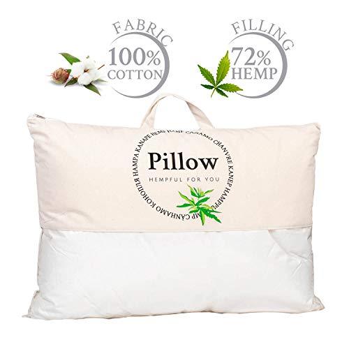 Almohada de Cáñamo Natural 50x70 cm Ideal para el Verano, Tejido 100% Algodon, Blanco
