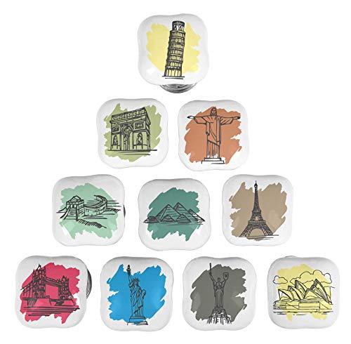 Welt Schublade Knöpfe (IBA Indianbeautifulart Mehrfarbig Welt Monumente Keramik Schublade Türgriffe Quadratischen Schrank Möbel Knöpfe Griff Ziehen)