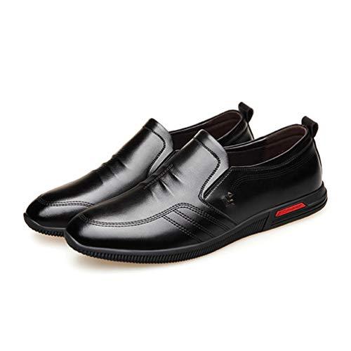 Chaussure en Cuir d'affaire Commercial Souple sans Lacet pour Homme Basse Mocassin Chaussure de Travail de Ville Casual Antidérapant