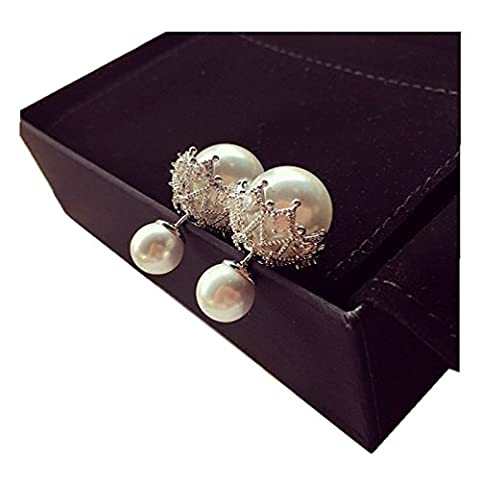 Elufly One Pair 925 Sterling Silver Double Sides Pearl And Crystal Earring Two Ball Stud Earrings (925 Silver)