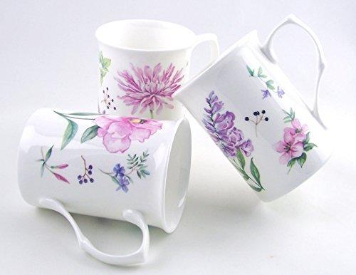 Fine English Bone China Mugs - Set of Three - Meadow Flowers By Roy Kirkham by Roy Kirkham, Staffordshire, England Meadow Flowers Bone China
