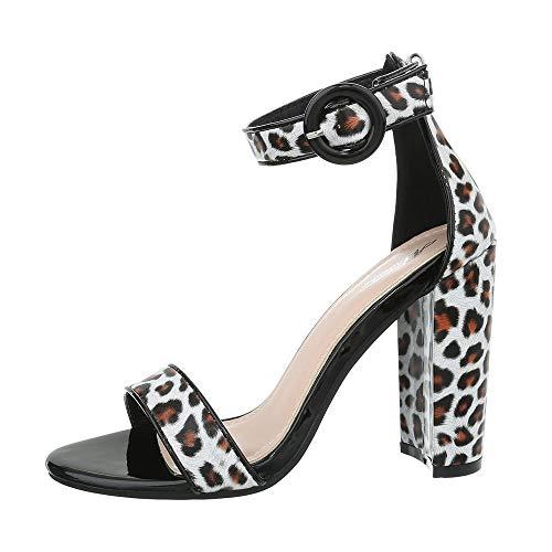 Ital-Design Damenschuhe Sandalen & Sandaletten High Heel Sandaletten Synthetik Weiß Multi Gr. 38 Weiß Multi Strap