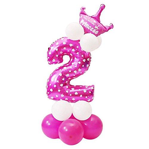 mit Zahl 0-9 Latexballon Riesenzahl Luftballon Folienballon Baby Maedchen Dusche Party Kindergeburtstag Deko - Nummer 2 ()