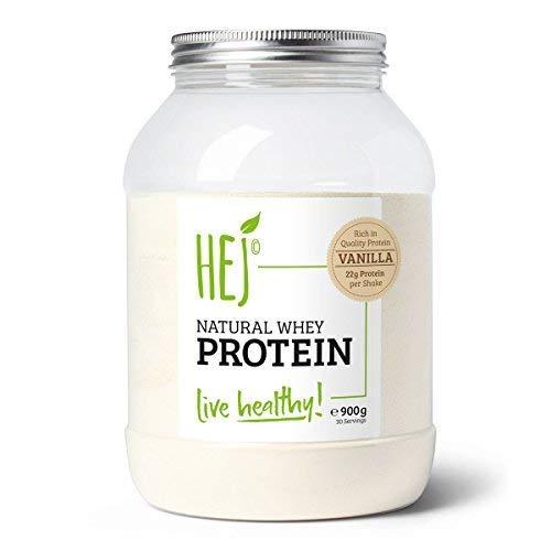 Image of HEJ Natural Whey Protein Vanille – Eiweißpulver für Protein Shakes – Proteinpulver im Geschmack Vanille – 1er Pack (1 x 900g)