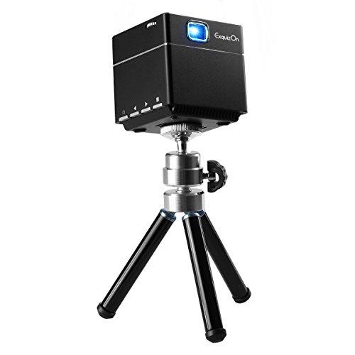 ExquizOn S6 - Mini DLP Projektor Beamer (1080P, FHD, Wifi, Lautsprecher, 2500mAH, Heimkino für PC, Smartphone, Familie, kleine Konferenz, Ausbildung, KTV, Nachtclub, Micro SD, HDMI , DC, 100 Zoll) Schwarz