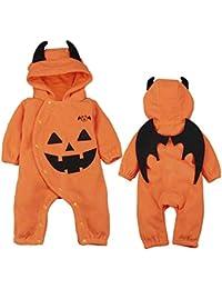 LITTHING Disfraz Halloween Bebé Murciélago Mameluco Calabaza Diablo Algodón con Capucha Encapuchado Conjunto Manga Larga Otoño Invierno Unisex Traje con Sombrero Niño Niña de 6-24 Meses
